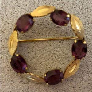 Vintage Genuine Amethyst Gold Leaf Circle Pin